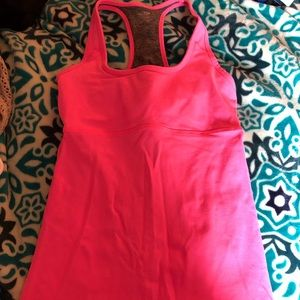 Hot pink and gray workout top size S